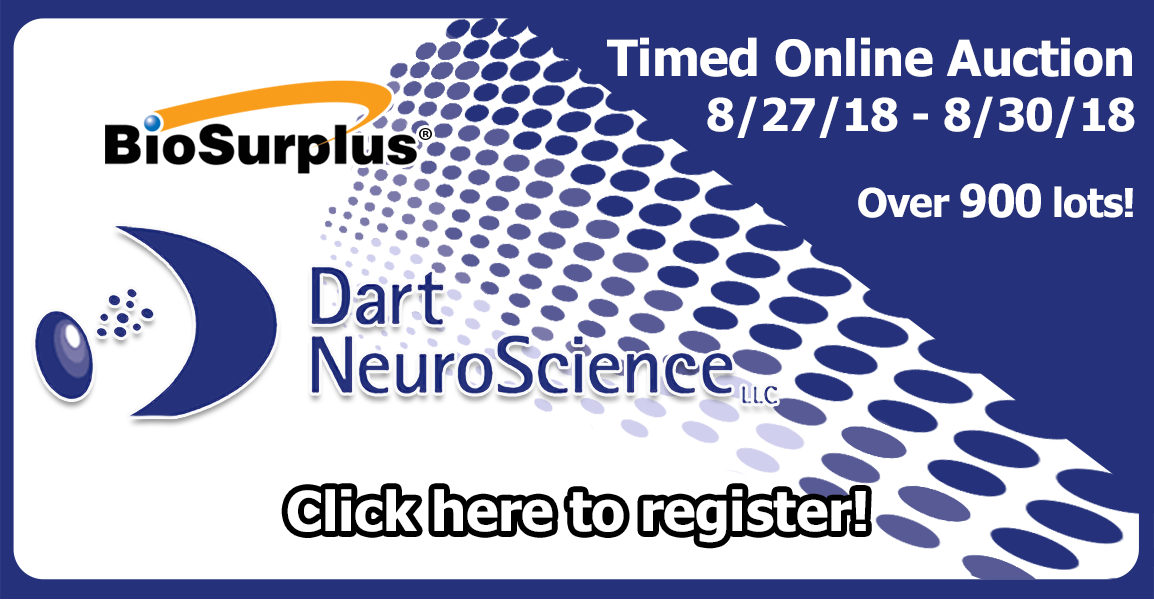 Banner for auction of Dart NeuroScience assets